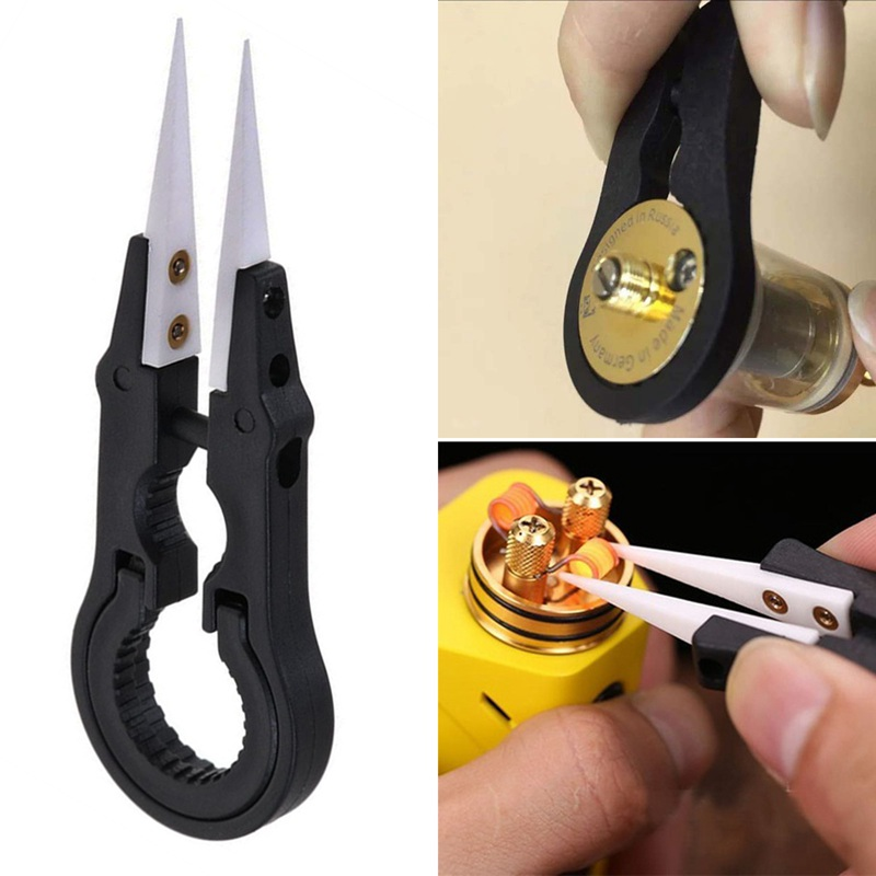 Heat Resistant DIY Multifunctional Screwdriver Pointed Tip Ceramic Tweezers Stainless Steel Handle