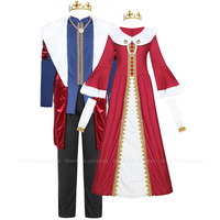 Christmas Queen King Cosplay Costume Halloween Carnival Women Party Dress Men Tops Pants Crown Performance Musical Drama Outfits