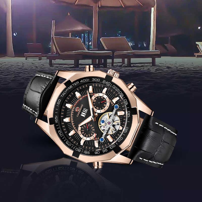 Top marque FORSINING mécanique automatique montre tourmilliard noir doré mode décontracté Design hommes lumineux montre-bracelet pour hommes