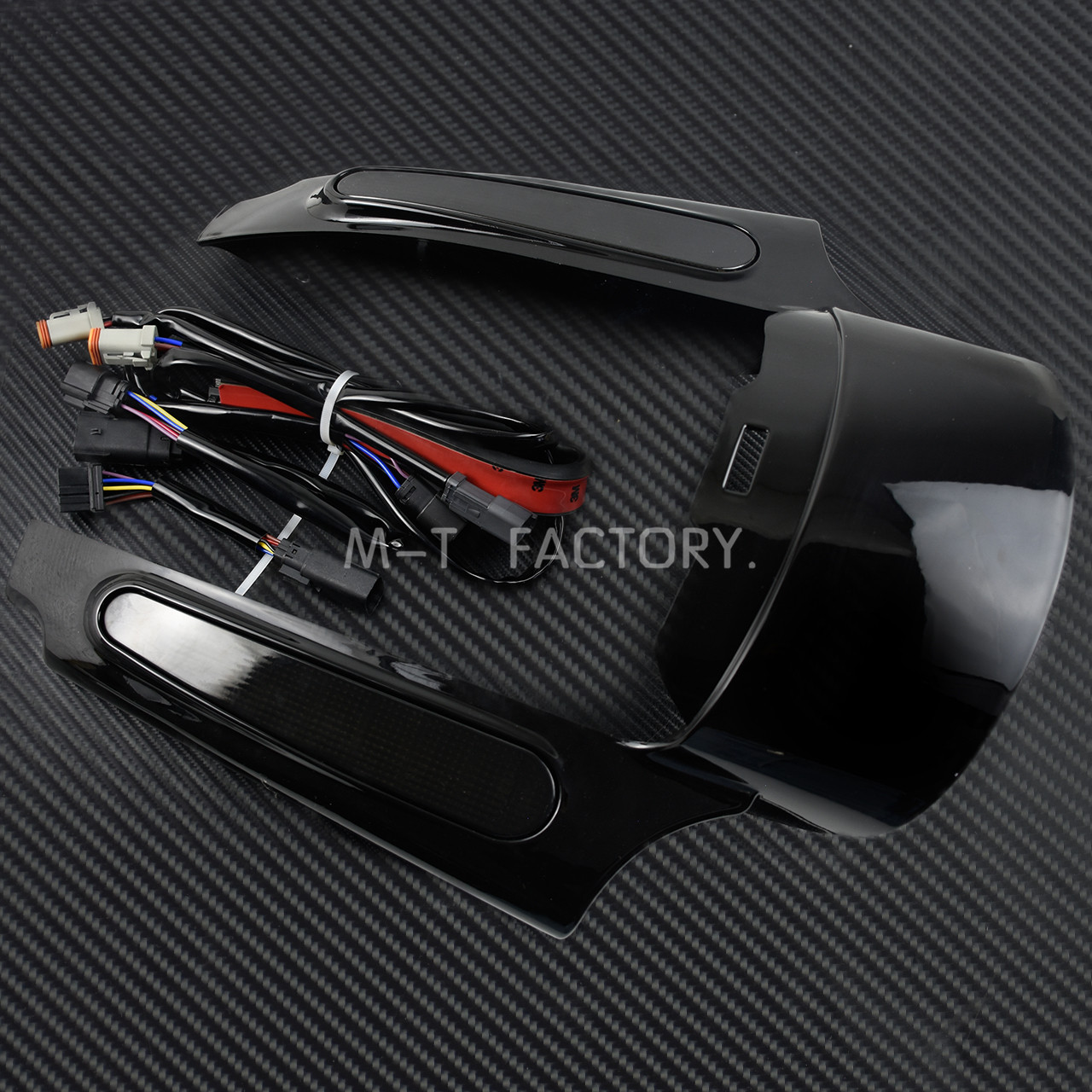 Motocicleta LED luz trasera guardabarros conjunto de fascia negro brillante para Harley Touring Electra Glide camino clásico King CVO deslizamiento callejero - 3