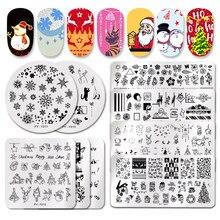 PICT YOU Рождественский фестиваль год снежинка шаблон ногтей штамповки пластины для дизайна ногтей пластины трафарет из нержавеющей стали дизайн ногтей