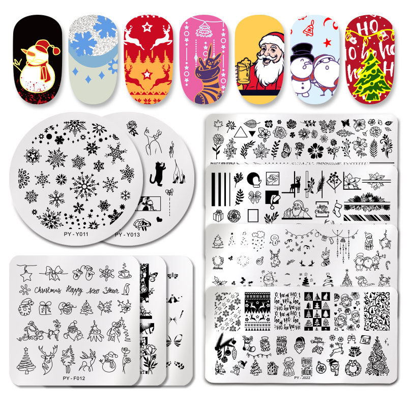 PICT YOU Christmas Festival New Year Snowflake Pattern Nail Stamping Plates Nail Art Plate Stencil Stainless Steel Nail Design