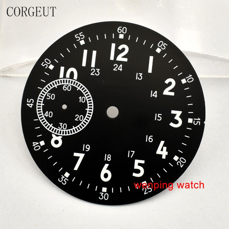 Corgeut 38.9mm green Luminous black dial fit ETA 6497,<font><b>st3600</b></font> Manual winding mechanical movement P713 image