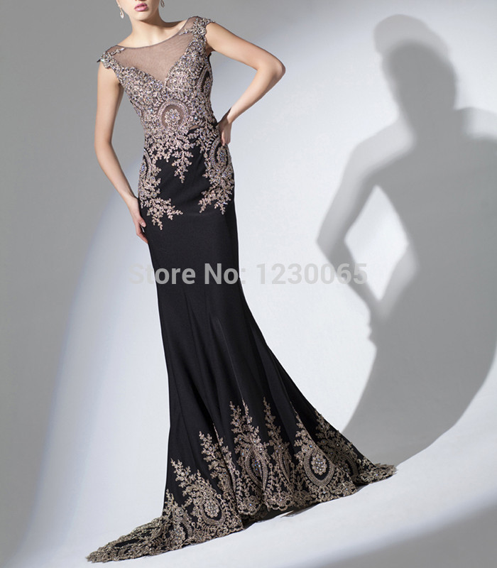 Vestidos Longo Real Photo Top Black Color Lace Embroider Applique Sheath Elegant Evening Gown 2018 Mother Of The Bride Dresses