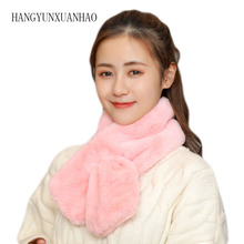 HANGYUNXUANHAO 5 colors Faux Fur Collar Winter Scarf Rabbit Scarves Women Knitted Long Wraps