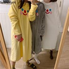 Women Nightgown Sleepshirts Homewear O-Neck Loose Korean-Style Sweet Cartoon Flannel