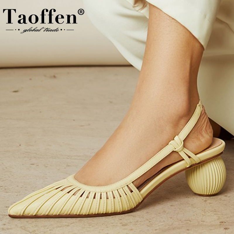 TAOFFEN Size 34-40 Real Leather Sandals Women Thick Heel Summer Shoes Women Casual Mid Heel Shoes Slip On High Heel Footwear