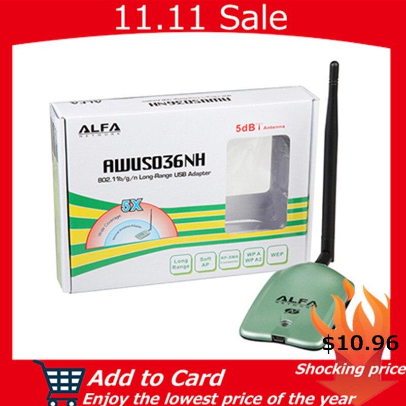 ALFA AWUS036NH WIFI Adapter Ralink 3070L Wifi Network Card 2000MW ALFA Wireless WiFi USB Receiver/Adapter with 5dbi anenna 1Set