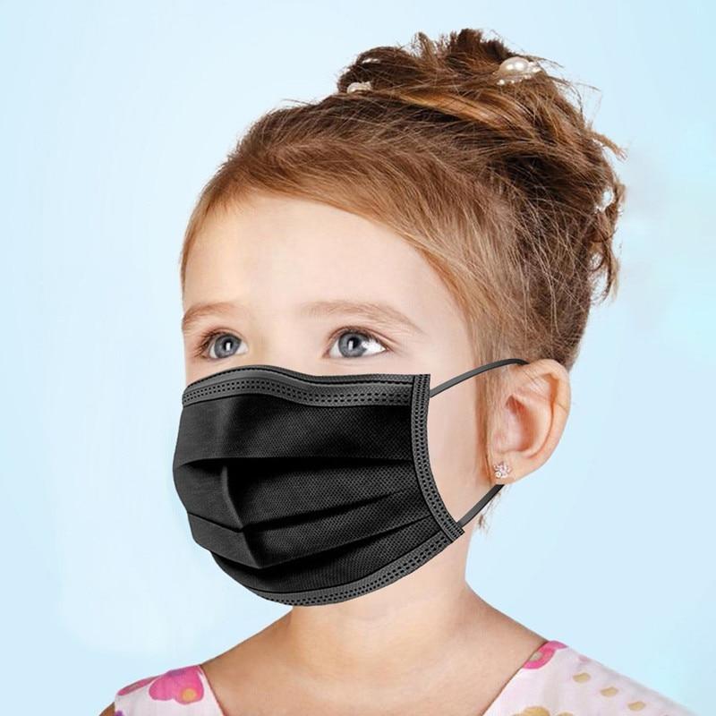 10-200 шт, детские одноразовые маски для лица, 3 слоя, Анти-пыль, черная маска, ткань, мелтдувная Пылезащитная маска PM2.5, детская маска для рта