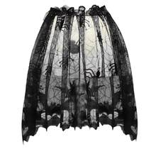 Halloween Knitted Curtain Lamp Cover Shade Cloth Black Spider Bat Lace Spider Web Curtain 60x20cm with Ribbon Free Shipping L*5(China)