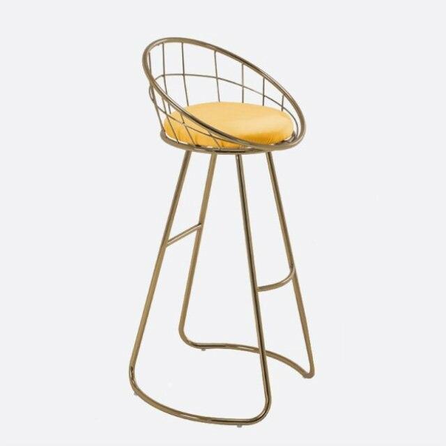 Nordic Ins Bar Chair Light Luxury Bar Chair Simple Backrest Home High Stool Fashion Iron Stool