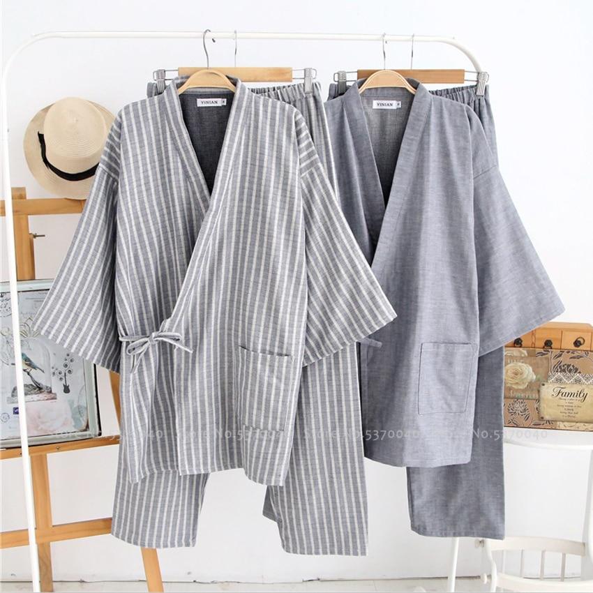 Men Japanese Kimono Bath Robe Sleepwear Sauna Spa Yukata Haori Aodai Home Nightgown Hanfu Cotton Soft Pajamas Set Tee Tops Pants