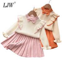 Los nuevos niños de Otoño de punto niñas vestidos de invierno de los niños vestido de suéter de lana de manga larga diseño plisado niñas ropa de bebé