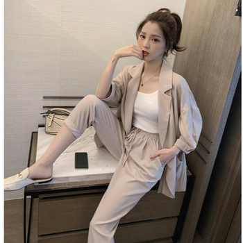 Women plus size Spring Summer Pants Suits Office Lady Two-Piece Set Female casual Blazer Jacket+ Trousers Slim Fit