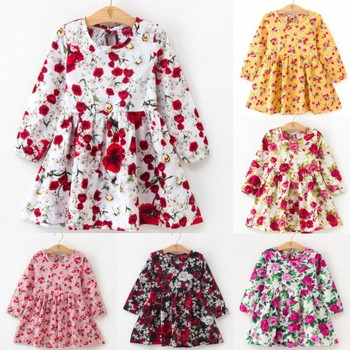 2019 Autumn Girl Dress Cotton Long Sleeve Children Dresses Floral Pattern Kids Dresses for Girls Fashion Girls Clothing Princess