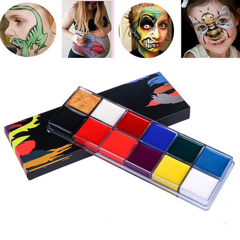 12 Colors Body Painting Easy To Color Makeup Prop Halloween Festival Clown Cosplay Paint Suitable Kids Painting Colors Palette Body Paint Aliexpress