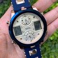 6 11 мужские наручные часы Кварцевые водонепроницаемые спортивные уличные часы для мужчин из искусственной кожи с двойным дисплеем