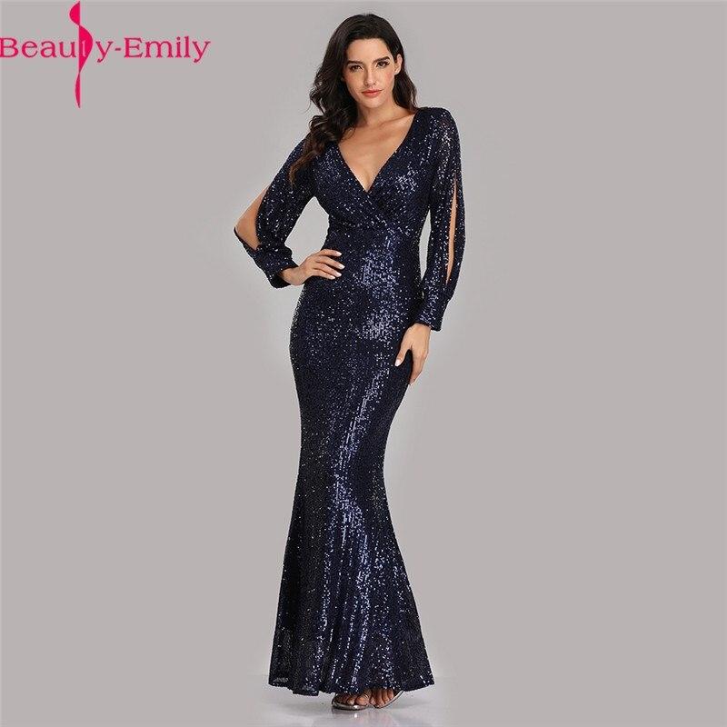 Beauty Emily Sexy Deep V Neck Long Sleeve Mermaid Evening Dress New Arrival Navy Blue Sequined Prom Dress Vestidos De Fiesta