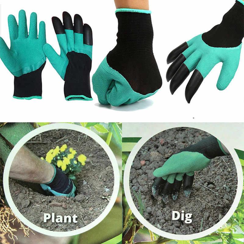 1 זוג גן כפפות עבור גן חפירת שתילה עם 4 ABS פלסטיק טפרי קל לחפור וצמח כפפת גן עבודה אבזרים