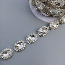 Strass corrente de cristal diamante, colar com pedra diamante renda, aplique de pedra, vestido de casamento 0.59