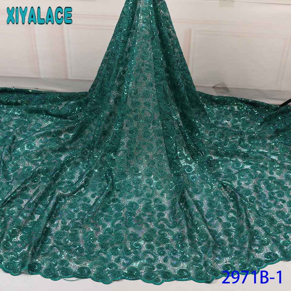 Latest Net Laces 2019,Hot Sale Sequence Lace Fabric,french Laces Embroidery With Sequins For Wedding Party KS2971B-1