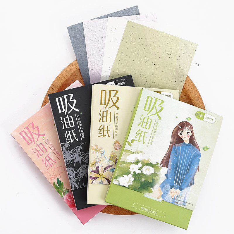 100Pcs/Pack  Protable Facial Absorbent Paper Oil Control Wipes Green Tea Bamboo Charcoal Sheet Oily Face Blotting Matting Tissue