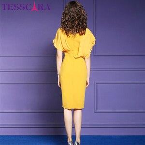 Image 5 - TESSCARA נשים קיץ אלגנטי משרד שמלת Festa נשי אופנה עיפרון המפלגה Robe Femme Vintage אימפריה מעצב שיפון Vestidos