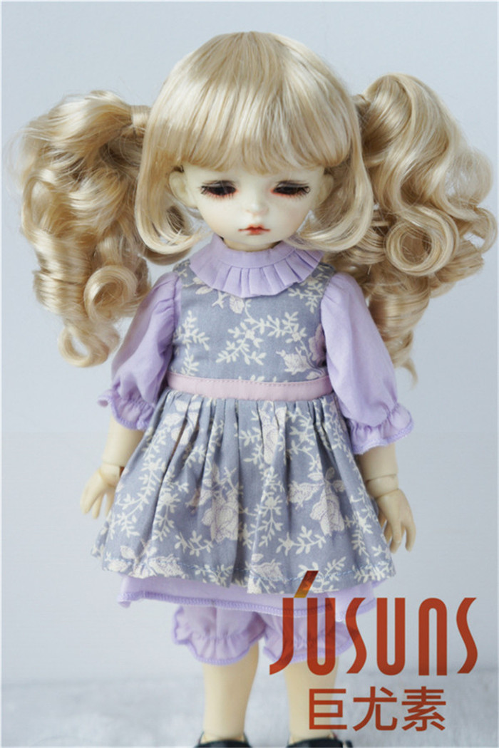 JD308 1/6 1/4 1/3 Double Curly Pony BJD Wigs For Size 6-7inch 7-8 Inch 8-9inch Fashion YOSD MSD SD Synthetic Mohair Doll Wigs