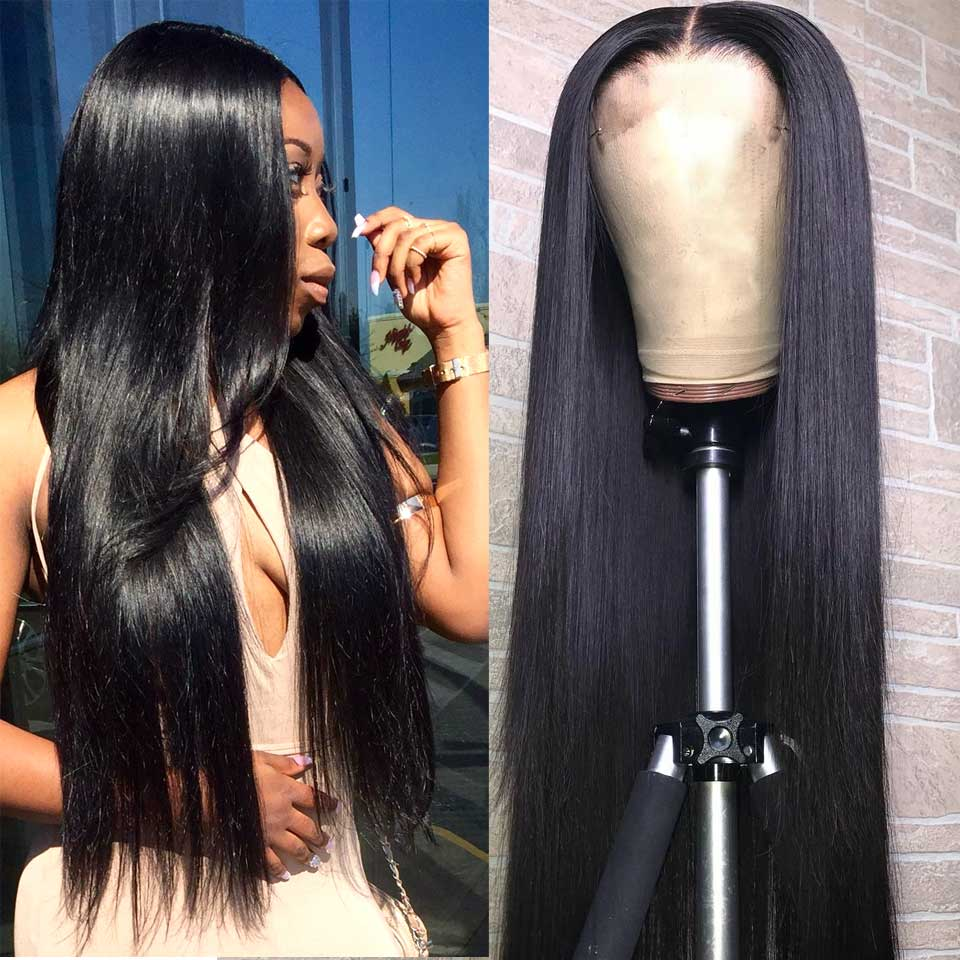 180 200 Density Lace Front Human Hair Wigs 13x4 Remy Invisible Transparent Brazilian Straight Lace Front Wig For Black Women