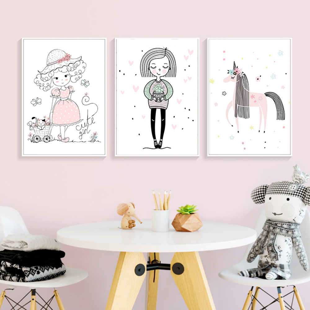 Modular Pictures Nordic Style Wall Artwork Prints Kawaii Pink <font><b>Unicorn</b></font> Little Girls Canvas Painting Poster For <font><b>Bedroom</b></font> Home <font><b>Decor</b></font> image