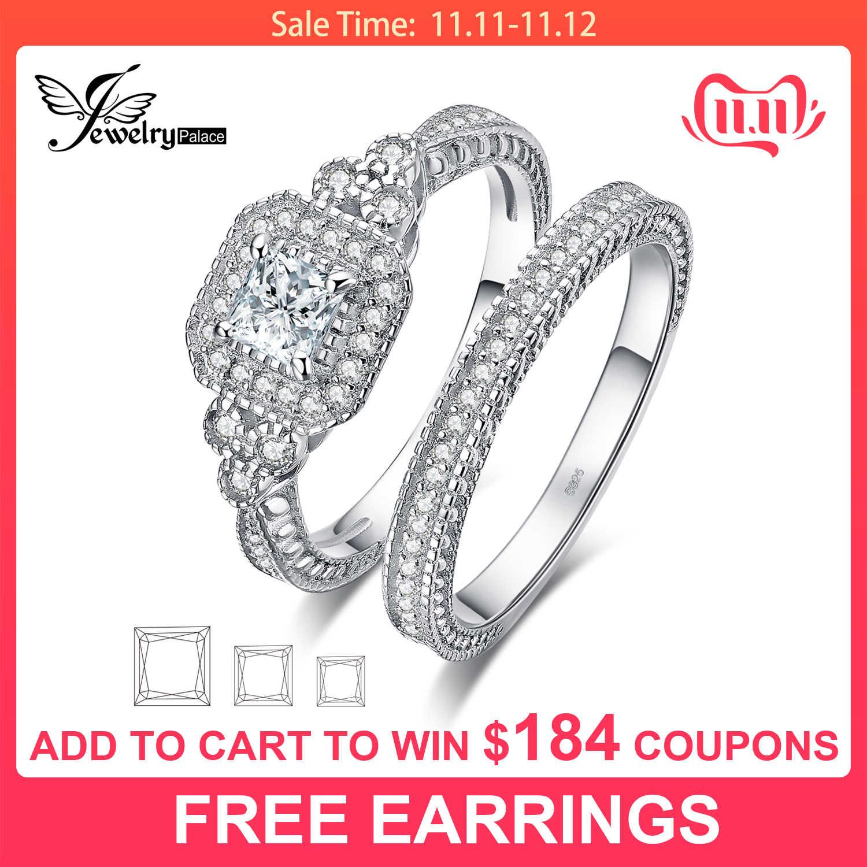 JPalace Princess винтажное Помолвочное кольцо, набор 925 пробы серебряных колец для женщин, обручальные кольца, свадебные наборы, серебряные ювелирные изделия 925