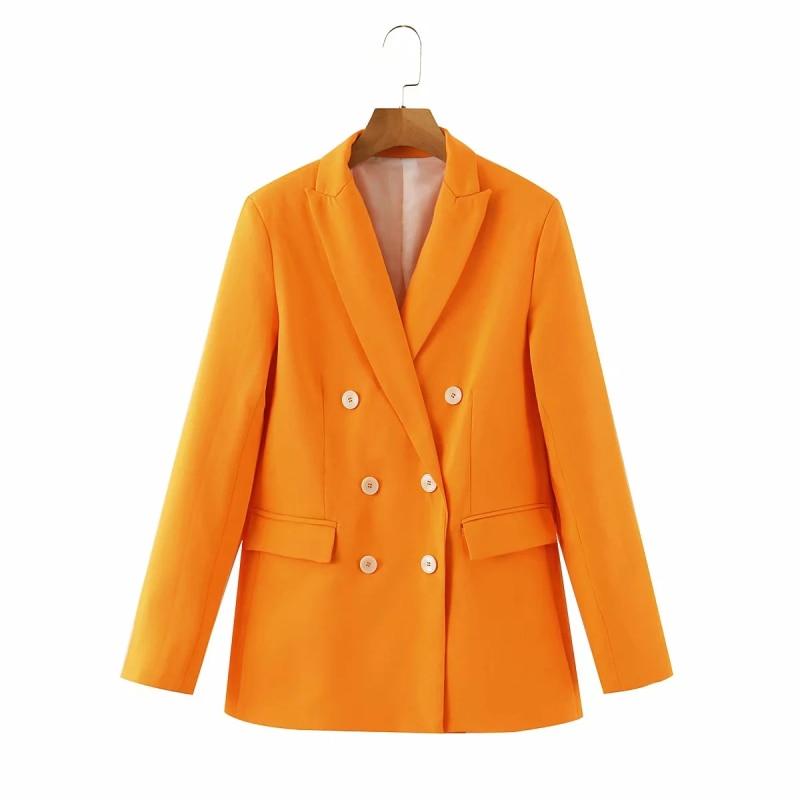 Casual Women Orange Double Breasted Blazers 2020 Fashion Ladies Long Sleeve Blazer Suits Elegant Female Loose Jacket Girls Chic