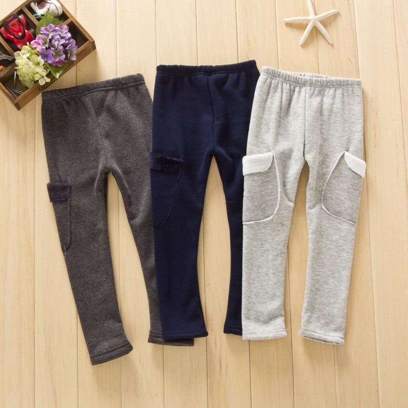 Autumn winter kids warm fleece pants children clothing thick trousers boys pants 2