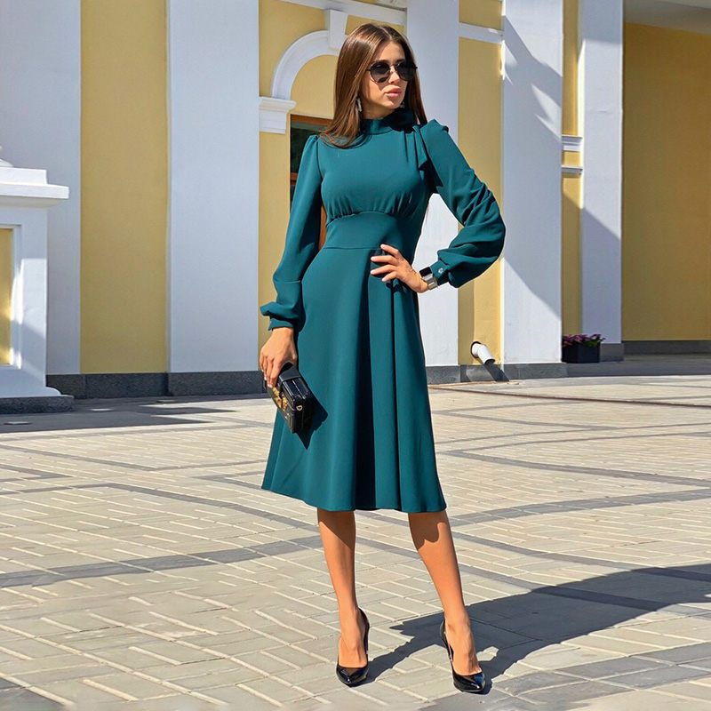 Women Casual Solid Stand Collar Dress Ladies Long Sleeve Vintage Elegant Dress 2019 Winter New Fashion Knee A-line Party Dress