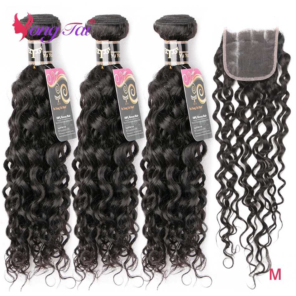 Yongtai Brazilian Hair Water Wave 3 Bundles With Closure Human Hair Extension 4*4 lace Closure 4Pcs Non-Remy Hair Weave M