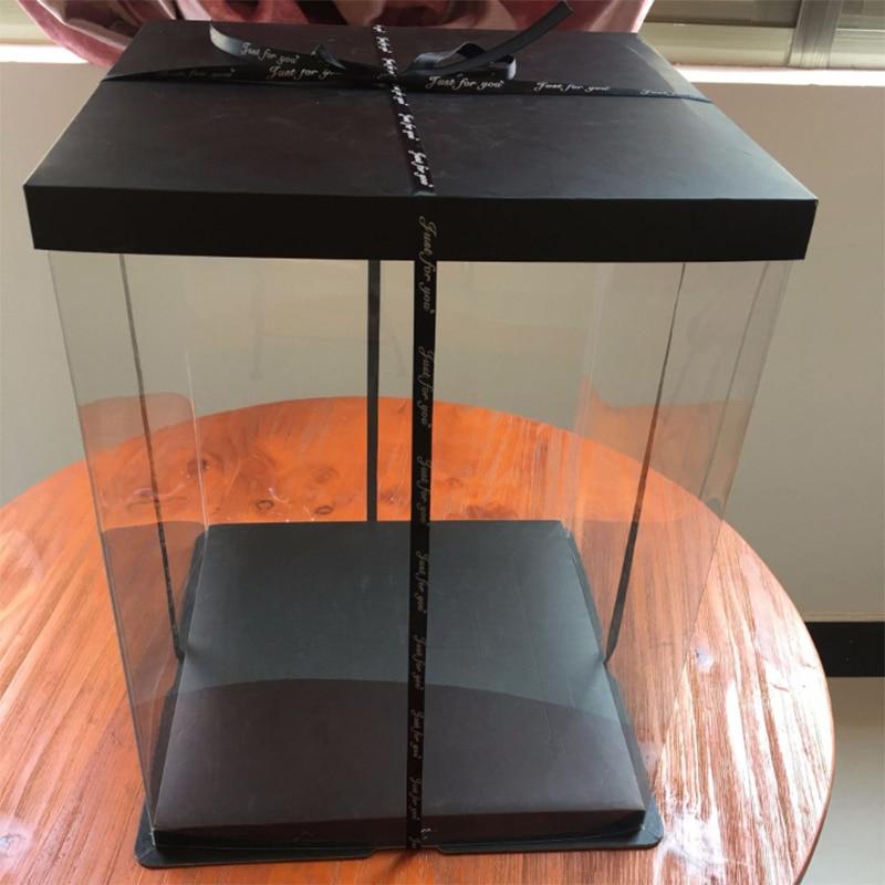 Heighten Super Large Transparent Packaging Box Valentine Rose Bear Flower Gift Box High-end Flip Cake Box Gift Box