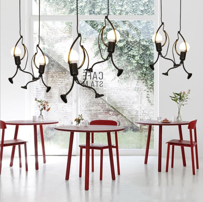 Little Man Pendant Lights For Children Room Climb Pendant Lamps For Bedroom Restaurant  Hanging Lamp Lustre Suspension Decor