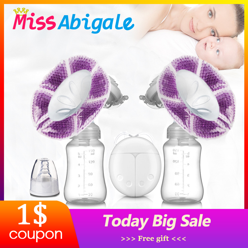 MissAbigale Real Bubee Double Electric Breast Pumps Powerful Lactation Nipple Suction USB Electric Breast Pump Baby Milk Bottle