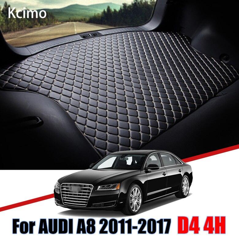 De cuero estera de maletero de coche para Audi A8 D4 4H 2011-2017 A8L S8 tronco Boot Mat del trazador de líneas de plataforma de carga alfombra cola de carga de 2014 a 2015
