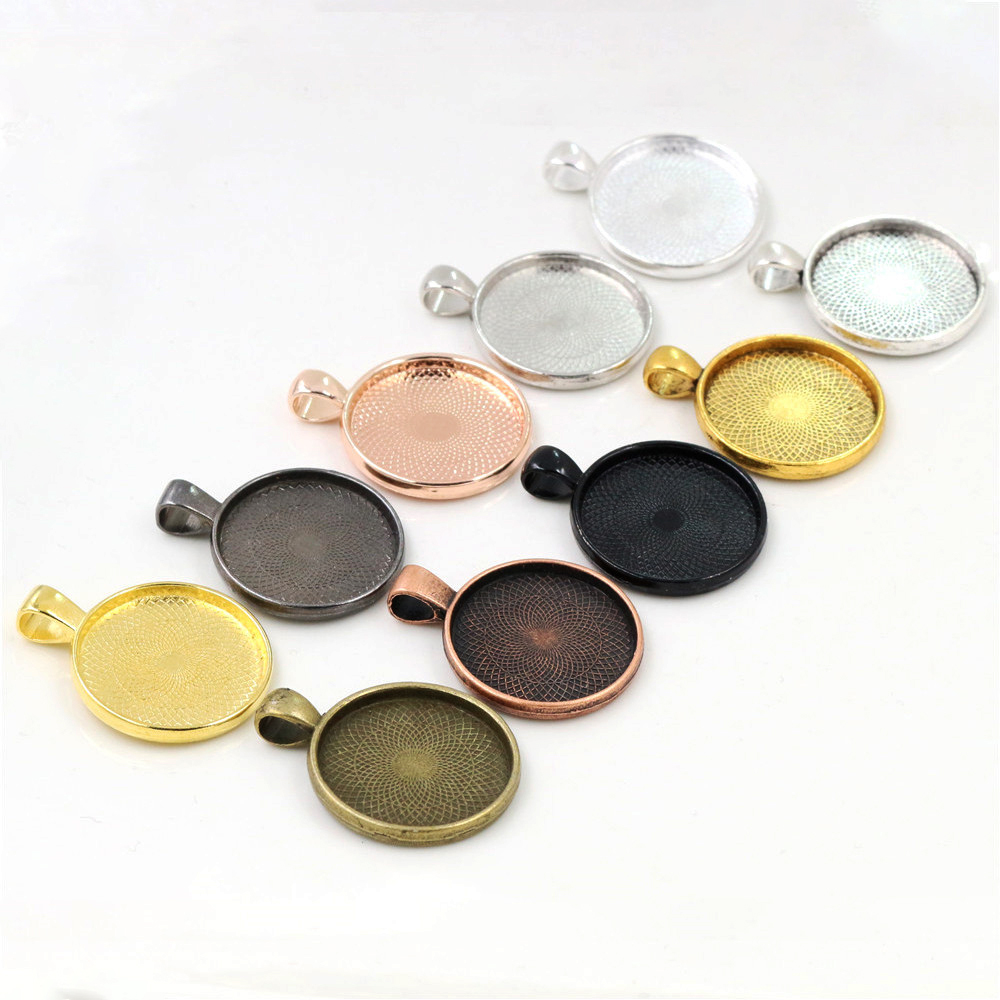 10pcs/lot 25mm Inner Size 10 Colors Plated Classic Pattern Series Fit 25mm Glass Cabochon Base Setting Tray;Lose Money Promotion
