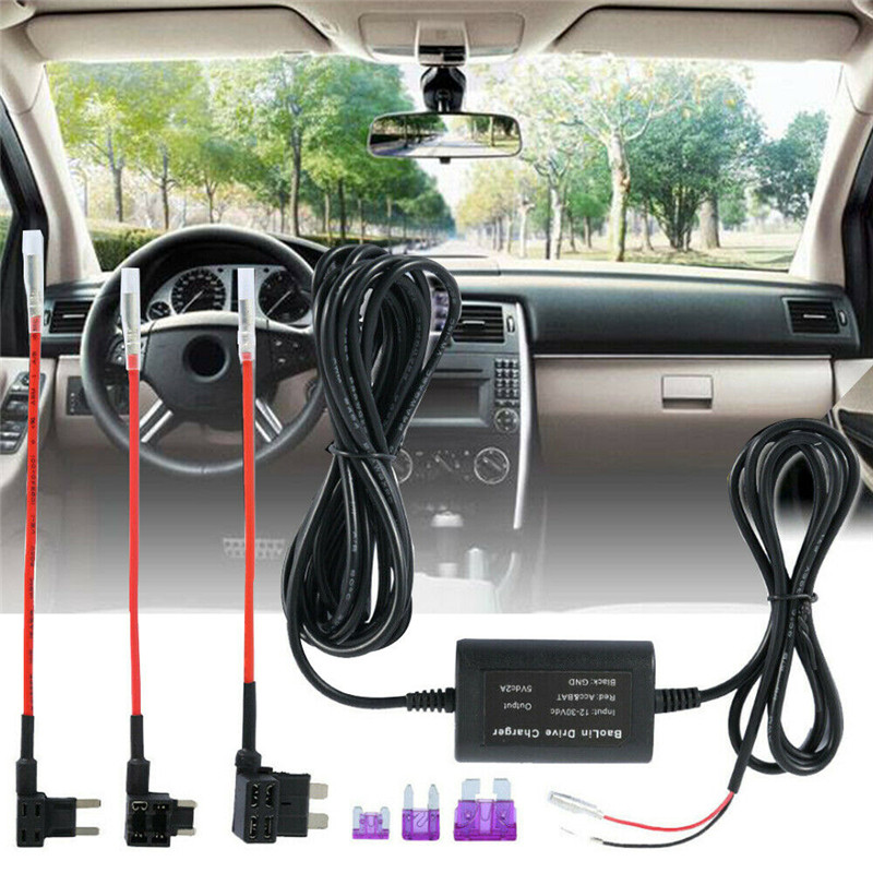 Hot Sale Universal Fuse Box Car Recorder Dash Cam Hard Wire Kit + Micro USB  Harness Connector Lot