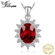 Princess Kate Diana 3ct Oval Natural Red Garnet Pendant 100% Pure 925 Sterling Silver Women 2016 Fashion stone Jewelry