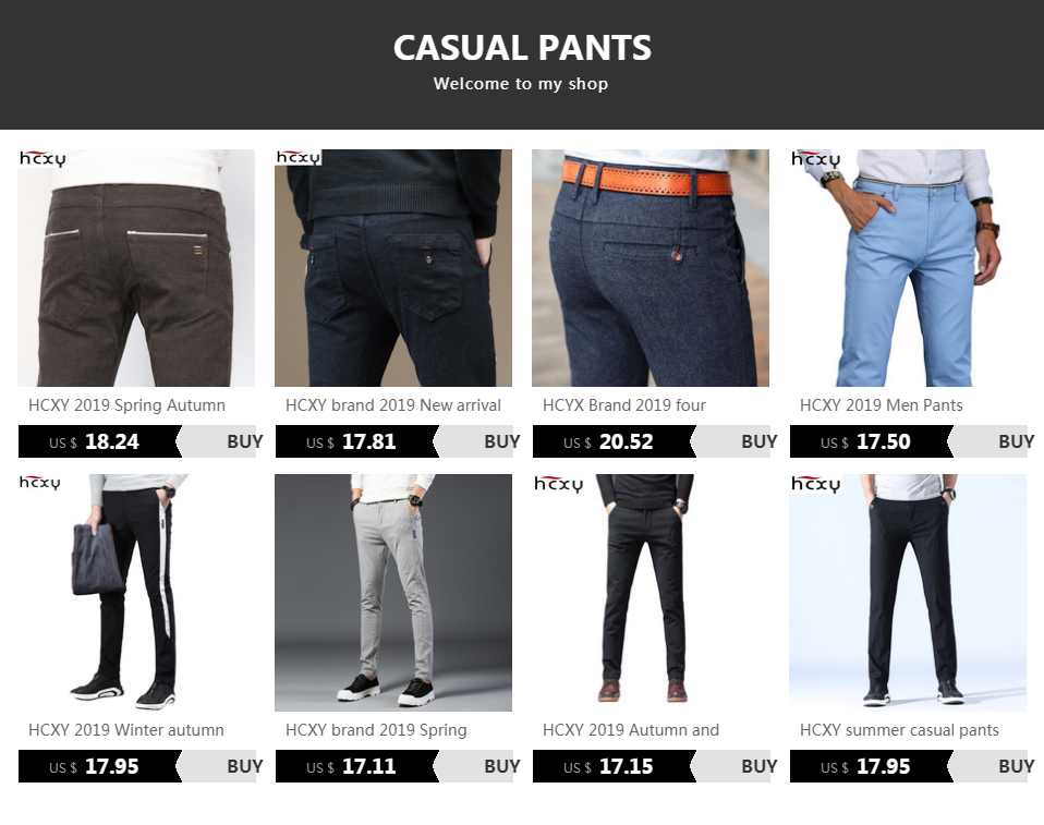 H19cb4a98c3ee496f98b85dde9d6c70a2e HCXY 2019 New Design Spring Summer Men's Smart Casual Pants Slim Pant Straight Trousers Thin Smooth Stretch Business Men Size 38