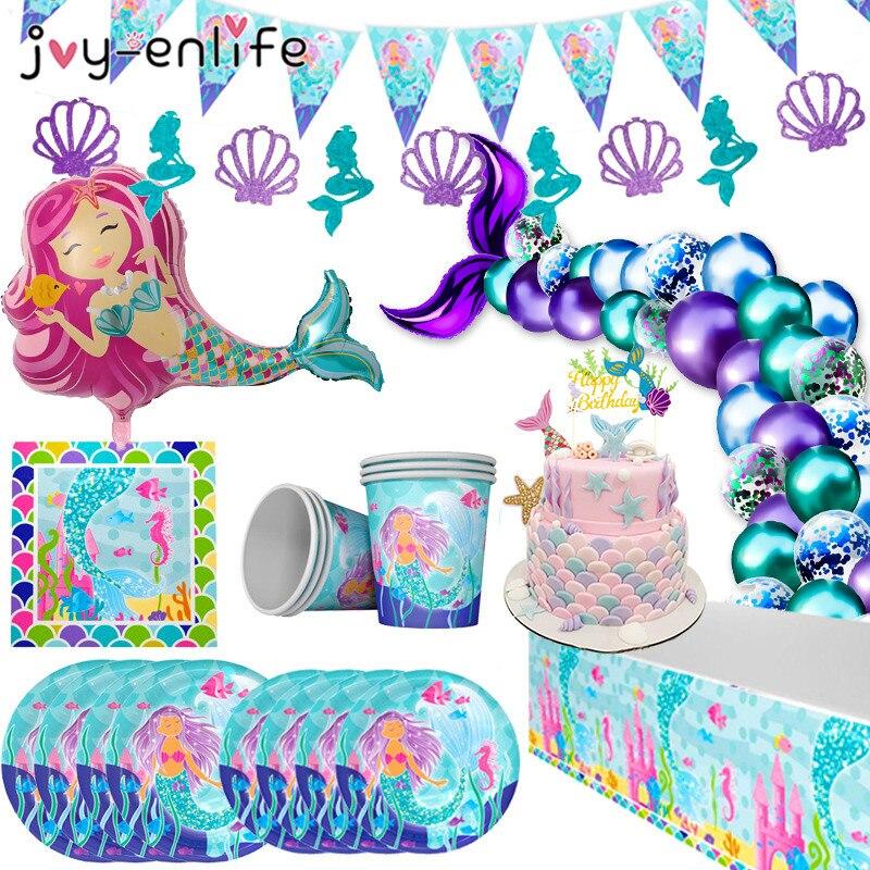 Принадлежности для вечерние с маленькой русалочкой, одноразовые аксессуары для дня рождения русалочкой, украшение для первого дня рождени...