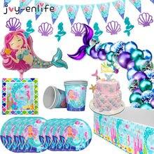 Pequena sereia suprimentos para festa de aniversário, festas de aniversário, kit de talheres descartáveis, menina, primeiro aniversário, sob a decoração do mar