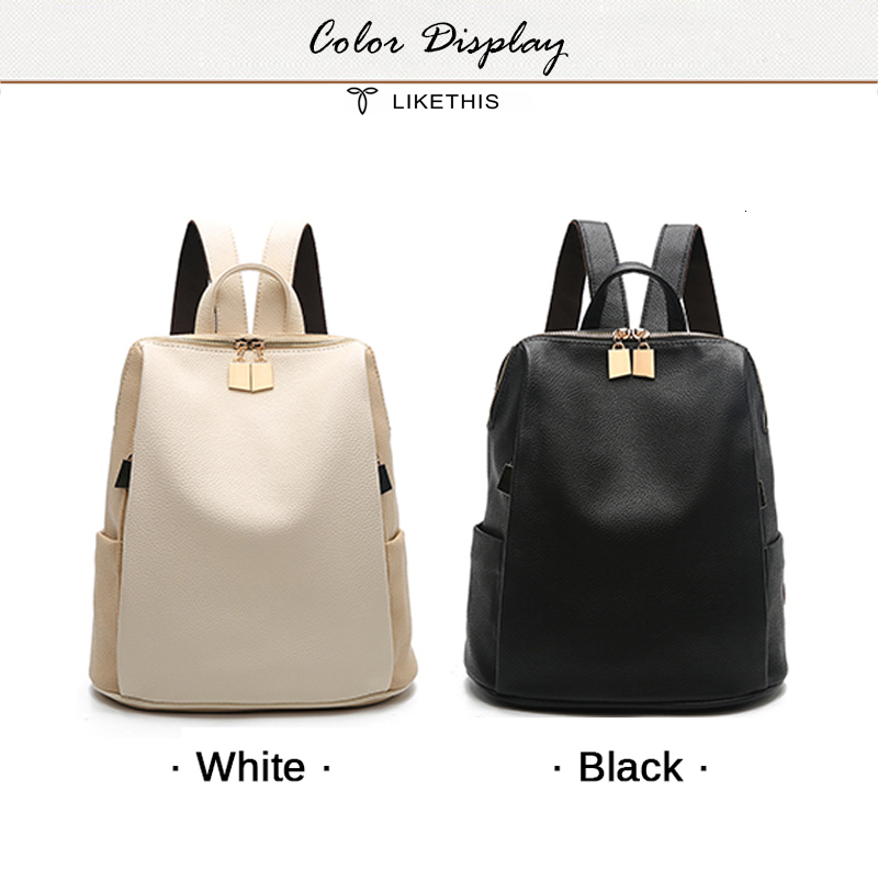 H19cb63b5df4a42a3b60703fefed3b5b1k Women Backpack for School Style Leather Bag For College Simple Design Women Casual Daypacks mochila Female Famous Brands168-325