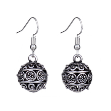 Trendy Cute Vintage Silver Color Hollow 3D Ball Smile Face  Earrings For Women New Jewelry Bijouterie