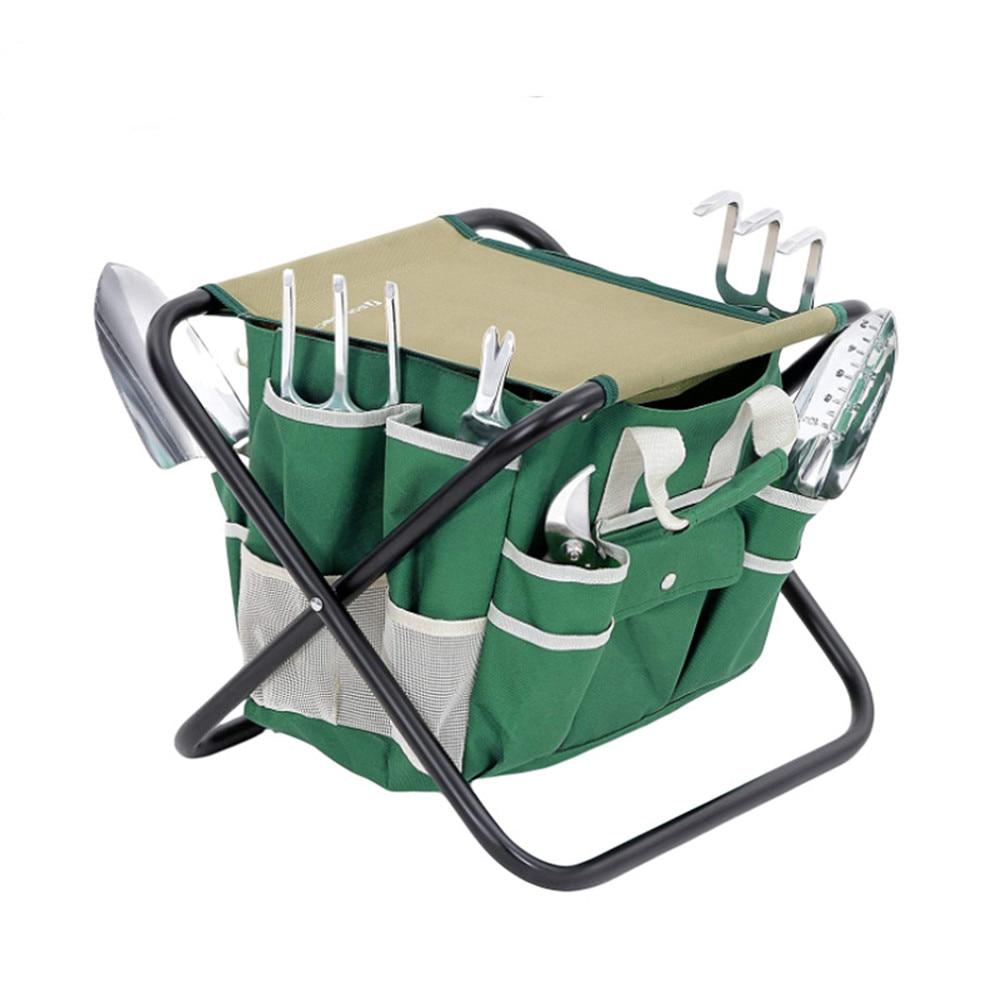 Garden Tool Storage Bag Folding Stool Outdoor Oxford Cloth Folding Chair Multifunctional Garden Set