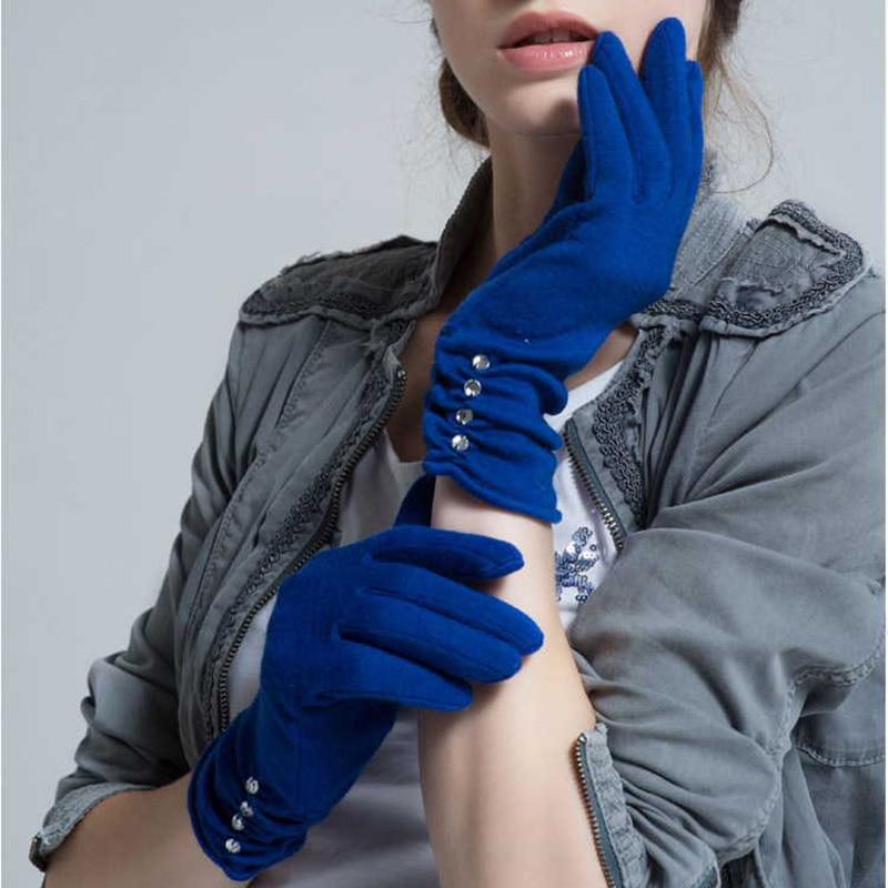 Wool Mittens Gloves Women Autumn And Winter Full Finger Warm Gloves Black Blue Fashion Designer Cashmere Female Gloves Winter