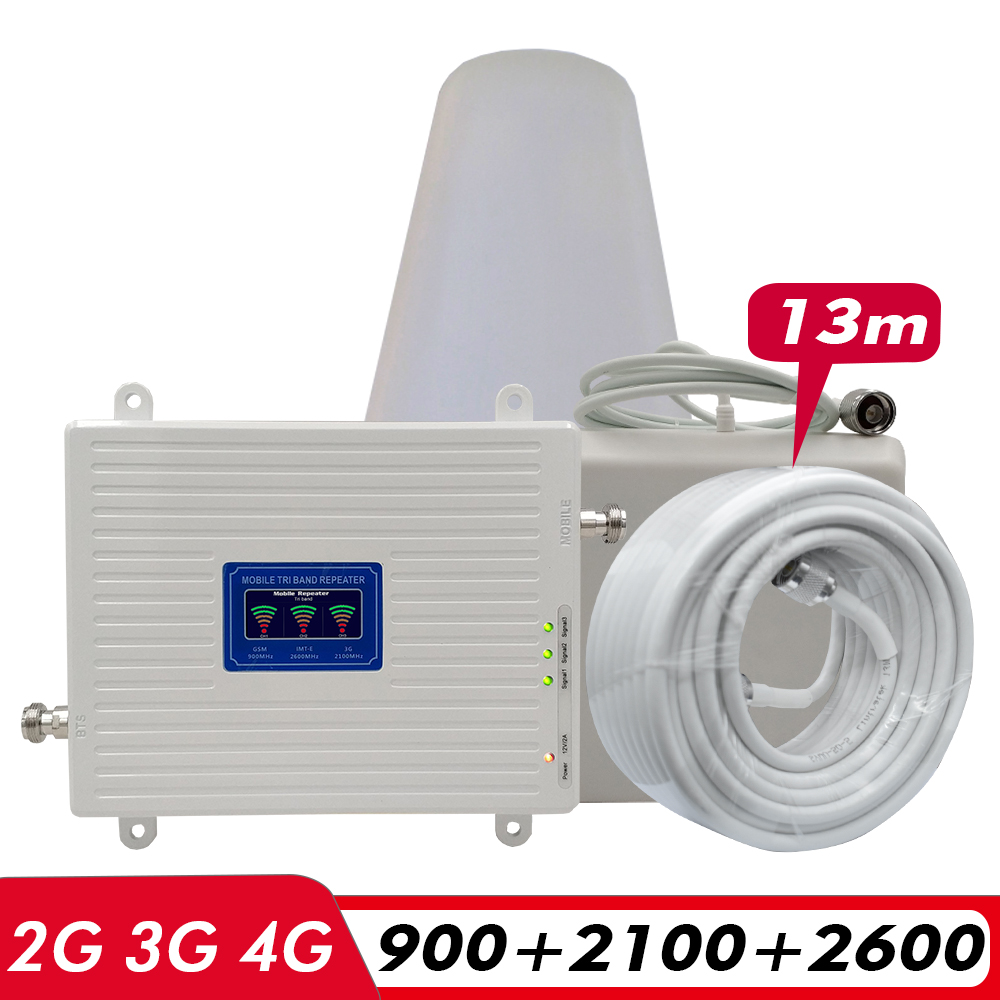 Amplificateur de Signal à trois bandes 2G 3G 4G GSM 900 + (B1) WCDMA 2100 + (B7) FDD LTE 2600 répéteur de Signal de téléphone portable Kit d'amplificateur cellulaire Mobile